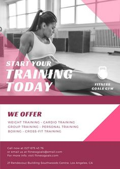 Pink Geometric Shapes Fitness Photo Overlay Gym Poster