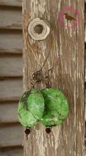 Green Magnesite Vintaj Bronze Earrings $13