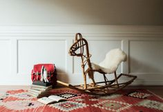 Rattan Horse Rocking Horse Chair by MicroscopeTelescope on Etsy