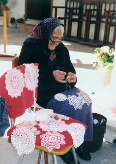 Greek tradition~my precious Thea Stella made lace We Are The World, People Of The World, Albania, Mykonos, Greek Culture, My Heritage, Crete, Corfu, Greece Travel