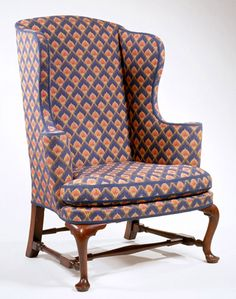 Queen Anne walnut and maple wing arm chair  Boston, Massachusetts, circa 1740  Private collection