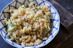 Quinoa Pilaf ~ South American high-protein quinoa, cooked with onions, garlic, bell peppers, pilaf style, with chopped fresh herbs added for the finish. ~ SimplyRecipes.com