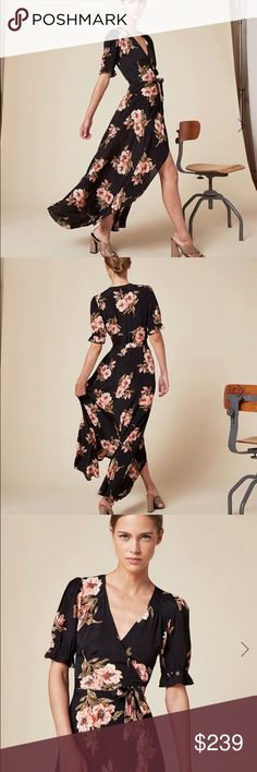 Reformation Addilyn Dress in Dasha Print, Size M Literally worn once and no longer available from the manufacturer! This highly coveted floral Reformation dress is stunningly dramatic: ankle length wrap dress that looks perfect at a wedding, brunch, or that special first date. Bra friendly. Elastic at sleeves adds a sweet little ruffle. https://www.thereformation.com/products/addilyn-dress-dasha Reformation Dresses