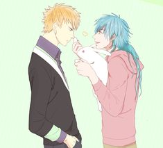DRAMAtical Murder, Seragaki Aoba, Noiz (DMMd), Green Background, Rabbit