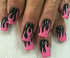 Pink flame nails