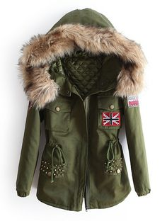 Green Fur Hooded Long Sleeve Drawstring Rivet Coat