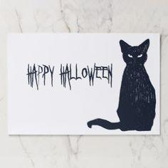 Halloween Black Cat Silhouette Placemat - home decor design art diy cyo custom