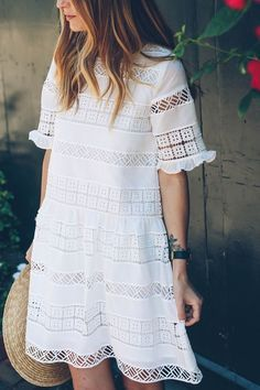 Anthropologie White Lace Dress for summer on Prosecco and Plaid Street style, street fashion, best street style, OOTD, OOTD Inspo, street style stalking, outfit ideas, what to wear now, Fashion Bloggers, Style, Seasonal Style, Outfit Inspiration, Trends, Looks, Outfits.
