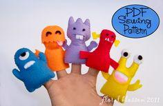 PDF Pattern: Little Monsters Felt Finger Puppets. $5.00, via Etsy.