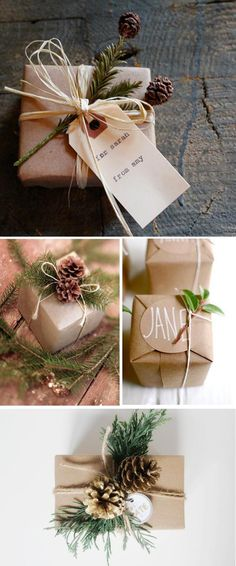 Creative and Inexpensive Christmas Gift Wrapping Ideas Sprigs of green perk up these presents wrapped in craft paper with pinecone and tag.Sprigs of green perk up these presents wrapped in craft paper with pinecone and tag. Inexpensive Christmas Gifts, Christmas Gift Wrapping, Xmas Gifts, Christmas Presents, Christmas Decorations, Inexpensive Gift, Homemade Christmas, All Things Christmas, Winter Christmas