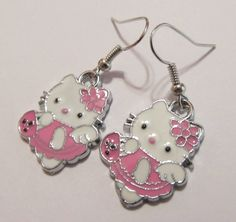 Earrings  Handmade  Pink Hello Kitty Charms by CraftyChic90, $3.00
