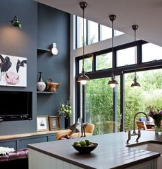 Commission piece for Designetc - Debbie Chapman #CowPaintings #CowPaintingsIreland Modern Craftsman, Ireland Homes, Cow Art, European House, Farrow Ball, Dublin, Home Projects, Kitchen Design, Table