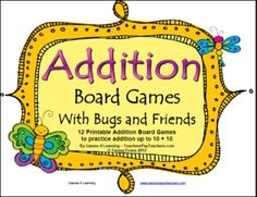 12 Printable Addition Board Games to practice basic addition to 20. Fun, math. Great for the classroom or homeschool. $