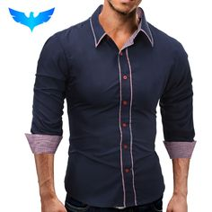 Fair price QINGYU Brand 2017 Fashion Male Shirt Long-Sleeves Tops Simple Solid Color Hit Color Side Mens Dress Shirts Slim Men Shirt 3XL just only $9.88 with free shipping worldwide  #shirtsformen Plese click on picture to see our special price for you