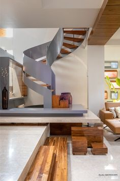 Features of a Traditional Indian Home into A Contemporary Dwelling Space | StudioWhiteScape - The Architects Diary Puja Room, Staircase Ideas, Green Theme, Facade Design, Wooden Flooring, Cladding, Second Floor, Nice View, Dining Area
