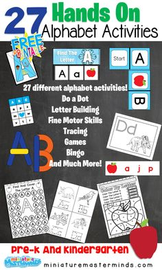 27 Free Printable Hands On Alphabet Activities This pdf has 27 different activities to practice the alphabet! 440 Pages of alphabet activities and work pages! Some of these have a Winter theme to t… Alphabet Activities, Hands On Activities, Kindergarten Activities, Preschool Crafts, Learning Activities, Alphabet Worksheets, Kindergarten Classroom, Kids Crafts, Teaching Ideas