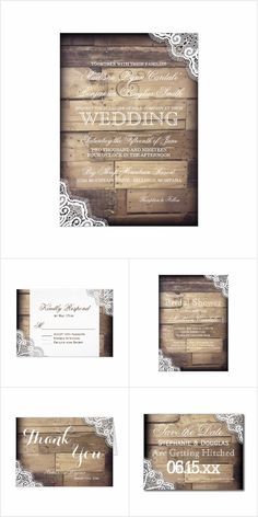 Rustic Wood and Lace Wedding Invitation Set: Rustic Wood and Lace Country Wedding Invitation Set. Rustic yet elegant. Mix and match the items you need. Invitation and RSVP cards are OFF when you order Mason Jar Wedding Invitations, Sunflower Wedding Invitations, Country Wedding Invitations, Rustic Invitations, Wedding Invitation Wording, Invites, Wedding Country, Wedding Envelopes, Invitation Cards
