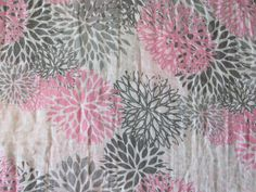 Pink & Gray Mums Double Gauze Swaddle Blanket - Pink - Grey - Floral - Flowers -  Baby Crib Blanket - Baby Gift - Hannahs Homestead2 by HannahsHomestead2 on Etsy