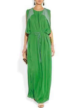 Acne | Marnay draped chiffon maxi dress | NET-A-PORTER.COM