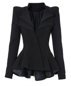 Amazon.com: Lookbookstore Women Double Notch Lapel Sharp Shoulder Pad Asymmetry Blazer: Clothing