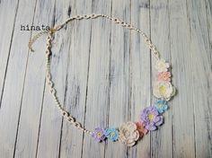 手編みレースのネックレス~color Flower~|ネックレス・ペンダント|noa|ハンドメイド通販・販売のCreema