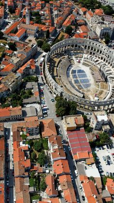 Pula Arena (27 BC-68 AD), Croatia. The best preserved ancient monument in Croatia. The only remaining Roman amphitheater to have four side towers and all 3 Roman architecturals entirely preserved.