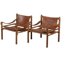Pair of Arne Norell Safari 'Sirocco' Chairs, Aneby Mobler, Sweden, 1960s 1 $5500
