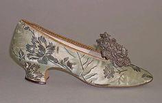 Slippers  Date: 1891 Culture: American Medium: silk, metal thread