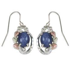 Black Hills Gold Star Sapphire Earrings