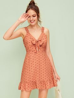 To find out about the Polka Dot Tie Front Ruffle Hem Slip Dress at SHEIN, part of our latest Dresses ready to shop online today! Simple Dresses, Cute Dresses, Casual Dresses, Short Dresses, Summer Dresses, Dresses Dresses, Dot Dress, Dress P, Dress Outfits