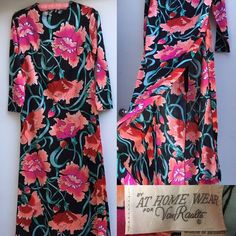 Vintage BY AT HOME WEAR FOR Van Roalte Floral Maxi Dress VTG Sz 10   | eBay