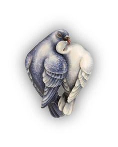 "Ilgiz F. / Brooch ""Doves"" - gold, enamel"