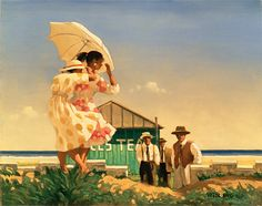 Jack Vettriano A Very Dangerous Beach Oil on canvas 24 x 30 inches Jack Vettriano, The Singing Butler, Under My Umbrella, Beach Print, Illustrations, Strand, Art Photography, Figurative, Paintings