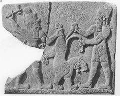 Carchemish, Herald's Wall Reliefs, 950-850 BC. Storm God & his assistant killing a lion. Museum of Anatolian Civilisation, Ankara