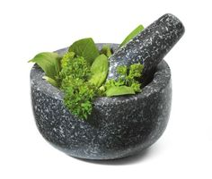 I've found that granite Mortar and Pestles are ideal for both cooking and magickal work. Marble stains, ceramic/glass lacks proper abrasion,and other materials absorb oil/scents, but a dark granite with a rough inner bowl and pestle would last long and is versatile. The one I got is made by Fresco, and comes in 2 sizes. I got the small, which is perfect for crushing amber resin into perfume.The larger size would be better for making guacamole.  https://www.etsy.com/ca/shop/MagickalGoodies