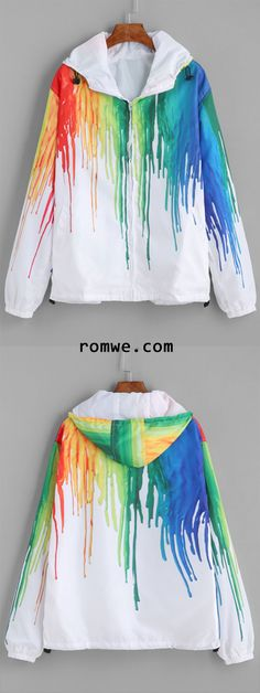 White Splash Print Long Sleeve Hooded Jacket Cool Jackets, Jackets For Women, Clothes For Women, Cool Outfits, Fashion Outfits, Woman Outfits, Disney Bound Outfits, Future Clothes, One Clothing