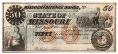 Missouri Defence Bonds CR20 Obsolete Currency 50.00 Note #obsoletecurrency #confederatemoney #statebonds