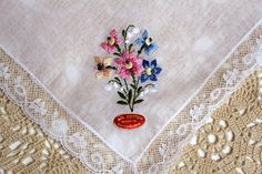 Vintage Embroidered Flower Handkerchief Lace Trim by GoldDaisy, $15.00