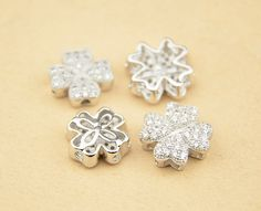 FREE SHIPPING 2pcs 10mm/12mm 925 Sterling Silver Zircon Four Leaf Clover Spacers / Connectors, 925 Silver Zircon Pendants / Charms (S242S)