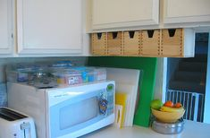 This is my obsessive way of keeping my son's bento lunch accessories organized and within reach when I'm packing lunch in the morning. The plastic boxes on the microwave (from a Japanese dollar store) hold less-used things, while the wooden under-cab . awsome i love it PLEASE FEEL FREE TO VISITE AND LIKE THIS PAGE FOR MORE RECIPES : https://www.facebook.com/Mediterraneanfoodrecipes