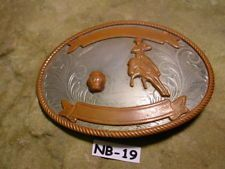 Very Old Rodeo Barrel Racing Nickle Silver Belt Buckle Horse & Rider MAKE OFFER $65.00 or Best Offer Free shipping