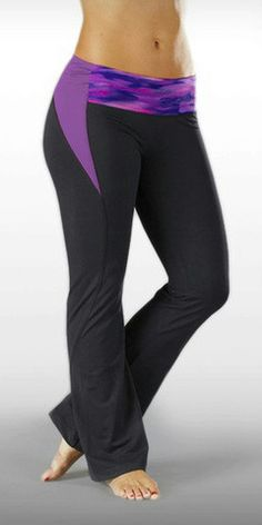 MARIKA TEK SOLSTICE CONTRAST WAISTBAND PANT PURPLE/ GRAY Medium $50 value