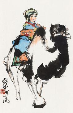 Cheng Shifa(b. 1921~2007) VISITING PATIENT Mounted for framing; ink and colour on paper. 程十髮(b. 1921~2007) 出診 鏡心 設色紙本  52 x 33 cm. 20 1/2 x 13 in. 約1.5平尺  鈐印:程十發印 題識:十發寫于上海。