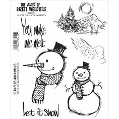 In the lane we can build a snowman Six deeply etched red rubber cling mount rubber stamps that adhere to any clear acrylic block Paper crafters know
