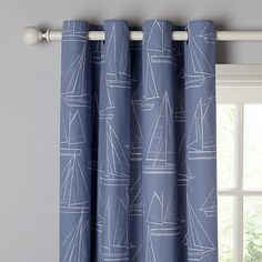 Buy John Lewis Sailing Boats Lined Eyelet Curtains, Pacific Online at johnlewis.com
