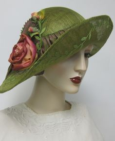 Rambling Roses Cloche ~blocked sinamay cloche with hand scultped rose and buds, trailing vines are all hand sewn. By Orsini~Medici Couture Millinery for Thistle Cottage Studio. Available on Etsy.com