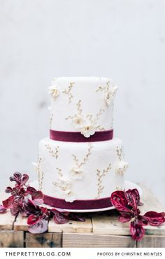 White wedding cake with a touch of ruby/plum | photographer @Christine Ballisty Meintjes | Cake: Nelle Cakes
