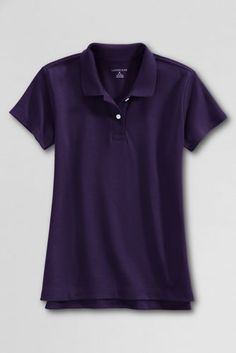 School Uniform Short Sleeve Feminine Fit Interlock Polo Shirt from Lands' End.  Solid White or Navy Blue