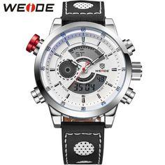 Men Leather Strap Analog Digital Dual Time Zones Date Alarm Stop Watch Display Mens Water Resistant