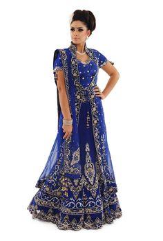 Blue Jacket Bridal Lengha